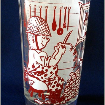WWII Wartime Drinking Glass Song Collectible Vintage Souvenir
