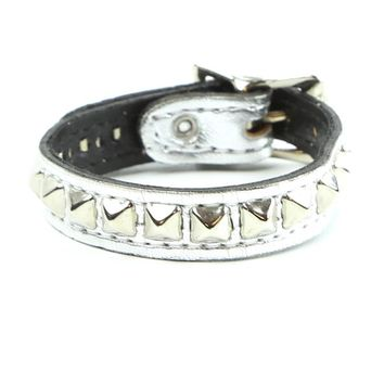 1-Row Mini Pyramid Stud Silver Patent Leather Wristband Bracelet