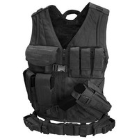 Cross Draw Tactical Vest - Color: Black - Medium - Large