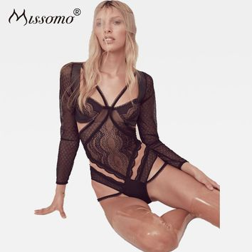 Missomo Women Lace Sexy Bodysuit Backless Long Sleeve Rompers Push Up Underwire Playsuits 2018 Spring Summer New Fahion Overalls