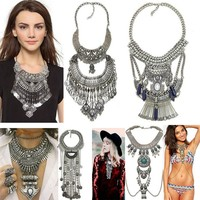 Bohemian Vintage Multilayer  Ethnic Silver Chokers