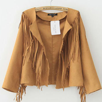 Khaki Fringe Open Jacket