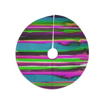 "Miranda Mol ""Multicolor Sunset Pink Teal"" Pink Teal Abstract Stripes Watercolor Painting Tree Skirt"