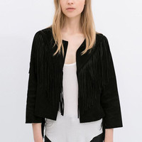 Long Sleeve Suede Fringed Cardigan Jacket