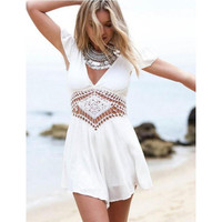 2015 Woman Clothing White V Neck Sexy Backless Lace Short Sleeves One-piece Women's Clothes Woman Clothing
