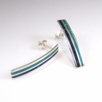 Sterling Silver Earrings - Sea Color - Blue and Turquoise Lines