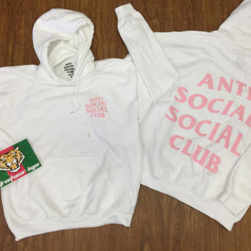 AntiSocial Social Club Hoodie in White BABY BLUES Hoodie / ASSC / Kanye West Anti Social  Cash Me Outside anti social club concert