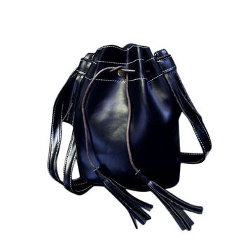 Women Bucket Bag Ladies Tassels PU Leather Handbag Shoulder Messenger Bag Purse Satchel bolsas feminina INY66
