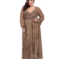 Plus Size 1970s Style Brown Cheetah Print Long Sleeve Maxi Dress