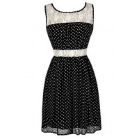 Lily Boutique Black and White Polka Dot Dress, Black and Ivory Polka Dot Dress, Black and White Lace Polka Dot Dress, Cute Polka Dot Dress, Retro Polka Dot Dress, Vintage Polka Dot Dress, Cute Summer Dress, Polka Dot Sundress, Polka Dot Summer Dress, Polka