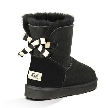UGG Fashion Women Bow Fur Wool Snow Boots Shoes-2