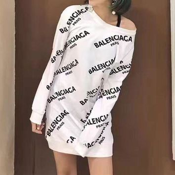 ONETOW balenciaga casual fashion letter print long sleeve medium long section sweater mini dress 2