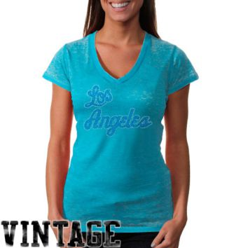 Touch by Alyssa Milano Los Angeles Lakers Ladies Fade Route Burnout Crystals T-Shirt - Light Blue