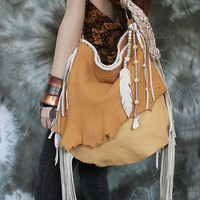 Camel tan white cream oatmeal longe fringe oversized bag shopper braided strap feather beads gems