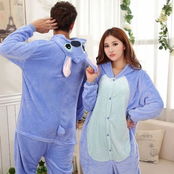 Blue Stitch Couple Pijama Pajamas Cartoon Animal Cosplay Pyjamas Adult Onesuits Costumes Party Halloween Pijamas XXL