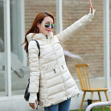 New winter coat female Korean Slim fashion casual finger in long down jacket = 1753442756