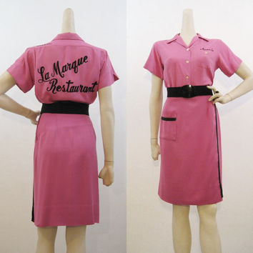50s Bowling Outfit Vintage Pink Rayon Sportswear Uniform Shirt Skirt S