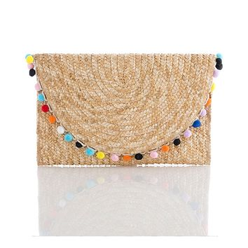 Women's Pom-Pom Envelope Straw Clutch