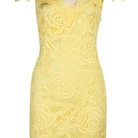 Yellow Short Sleeve Hollow Lace Dress - Sheinside.com