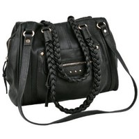 MG Collection AKIRA Black Braided Handle Shopper Handbag Style Hobo Shoulder Bag