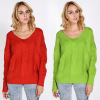 Girl's Casual Pure Color Loose Thick Pullovers Knitted Sweater = 1902423492