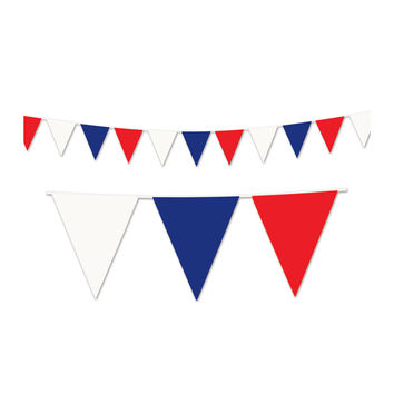 Outdoor Pennant Banner 17 x 120' - Red, White, Blue- Pack of 12