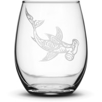 Wine Glass with Tribal Hammerhead Shark, Hand Etched