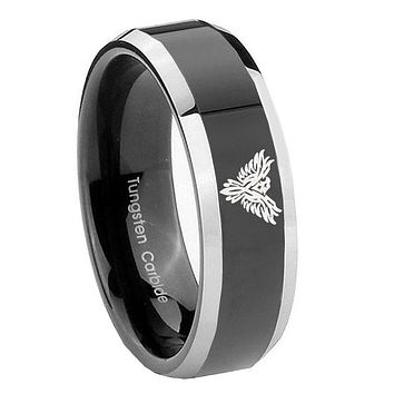 10MM Beveled Two Tone Phoenix Shiny Black Middle Tungsten Men's Ring