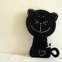 Black Crochet Cat Coaster (1 piece)