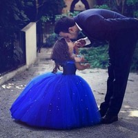 Cute Royal Blue Ball Gown Girls Pageant Dresses Communion Dress Tulle Floor Length Toddler Birthday Dresses Kids Party Dresses