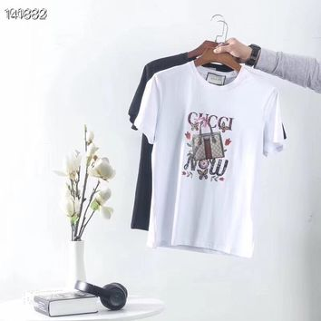 """Gucci"" Women Fashion All-match Pattern Letter Print Short Sleeve T-shirt Top Tee"