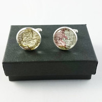 Custom Map Cufflinks, Mens Cufflinks, Custom Cufflinks, Special Gift for Fathers, Groom, Husbands