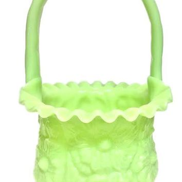 Large Fenton Art Glass Basket Lime Custard Satin Glass Poppy Flower