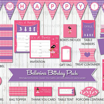 Ballerina, Tutu, Birthday Party Decorations, DIY Party, Girl, Princess, Pink, Purple, Ballet, Little Girl, Printable, Cute, Instant Download