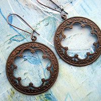 Round Copper earrings with a Moroccan flare Gypsy Bohemian Jewelry