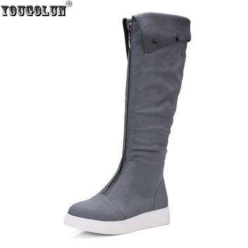 YOUGOLUN women thigh high snow boots women's ladies nubuck flock boots woman knee high boots women black gray shoes flats