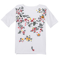 "ROMWE | ""Ink Painting"" White Floral T-shirt, The Latest Street Fashion"