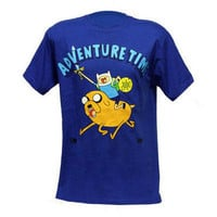 Adventure Time Jake & Finn Adult Blue T-Shirt |