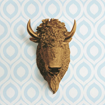 The Yellowstone in Bronze - Faux Bison Head Taxidermy - Resin Animal Fake Fauxidermy Ceramic Mounted Wall Decor Plastic Decorative Buffalo