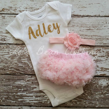 Baby Girl Take Home Outfit Newborn Baby Girl Custom Onesuit Bloomers Headband Set Pink & Gold