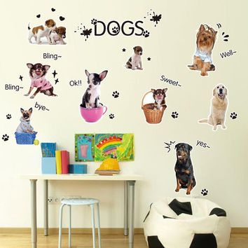 wall stickers for kids rooms home decor Cute Dog Pet Shop Animal cartoon DIY Vinyl Wall Stickers For Kids Rooms