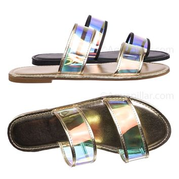 Shoreline27 Lucite Clear Flat Slide Sandal - Women Hologram Iridescent Slide Ons