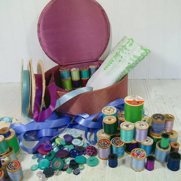 Round Purple Satin Lidded Sewing Basket with Sewing Notions in Green, Blue & Purple - Vintage Artisan Crafter Decor Collection Chest Display