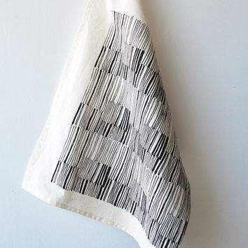 lines tea towel by bookhouathome on Etsy