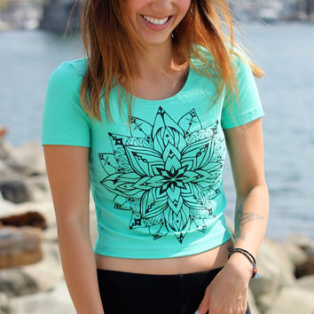 Star Shine Mandala Mint Crop Tee, Sacred Geometry Shirt, Yoga Top, Boho Top, Envision, Burning Man, Fire Spinner, Hula Hooper, Gypsy Top