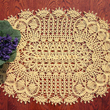 Big yellow doily Oval crochet doily Big lace doily Yellow crochet doily Crochet centerpiece Yellow crochet decor Oval crochet table topper