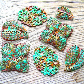 Bohemian Filigree  - Filigree Lot - Embellishments - Metal Lace - Jewelry Findings