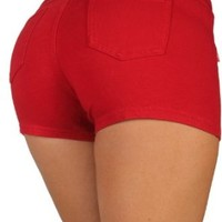 Basic Short Shorts Premium Stretch French Terry Moleton With a gentle butt lifting stitching in Red Size S