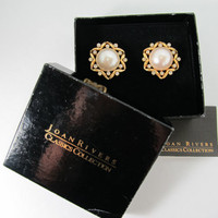 JOAN RIVERS Faux Pearl & Rhinestone Earrings
