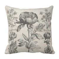 Vintage black and white botanical flowers floral throw pillow